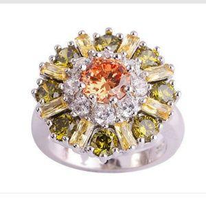 Jewelry - Citrine Morganite and peridot flower ring